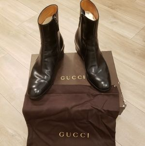 Men's Gucci Black Leather Boots - Size 7